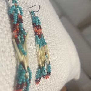 American Indian colors porcupine quill earrings